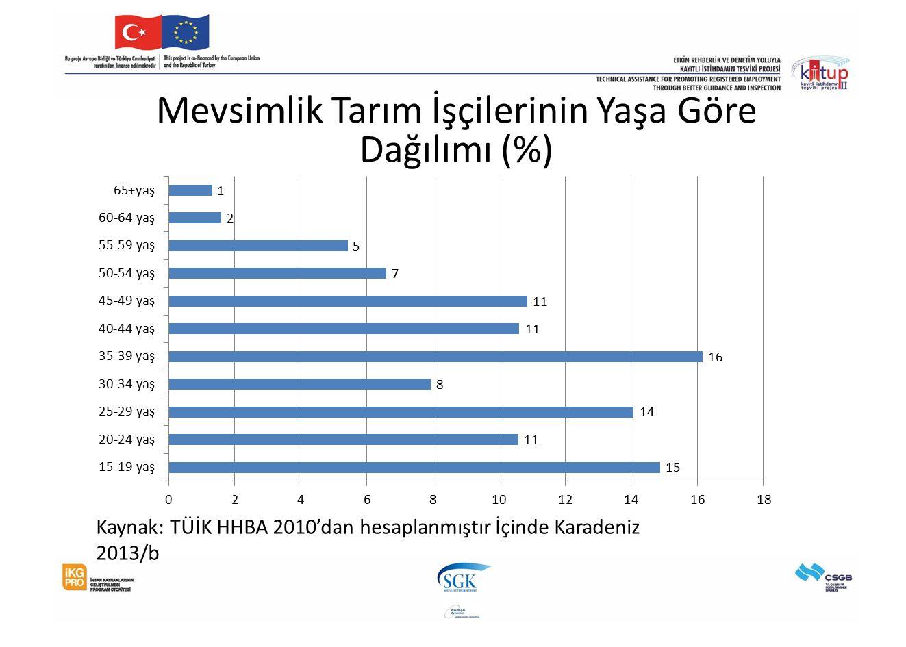 Mevsimlik Tarım İşçilerinin Yaşa Göre Dağılımı (%) Kaynak: TÜİK HHBA 2010'dan hesaplanmıştır İçinde Karadeniz 2013/b
