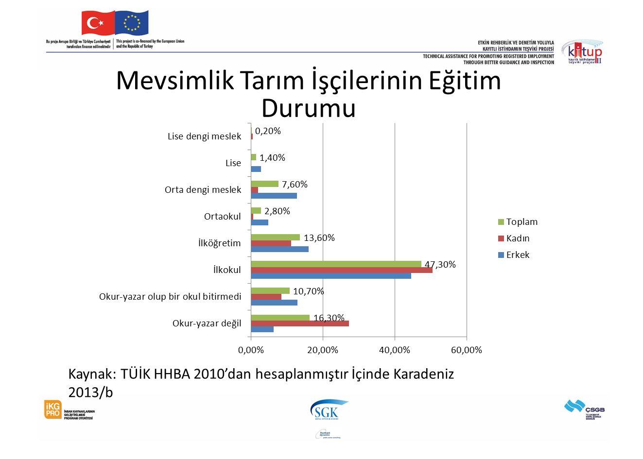 Mevsimlik Tarım İşçilerinin Eğitim Durumu Kaynak: TÜİK HHBA 2010'dan hesaplanmıştır İçinde Karadeniz 2013/b