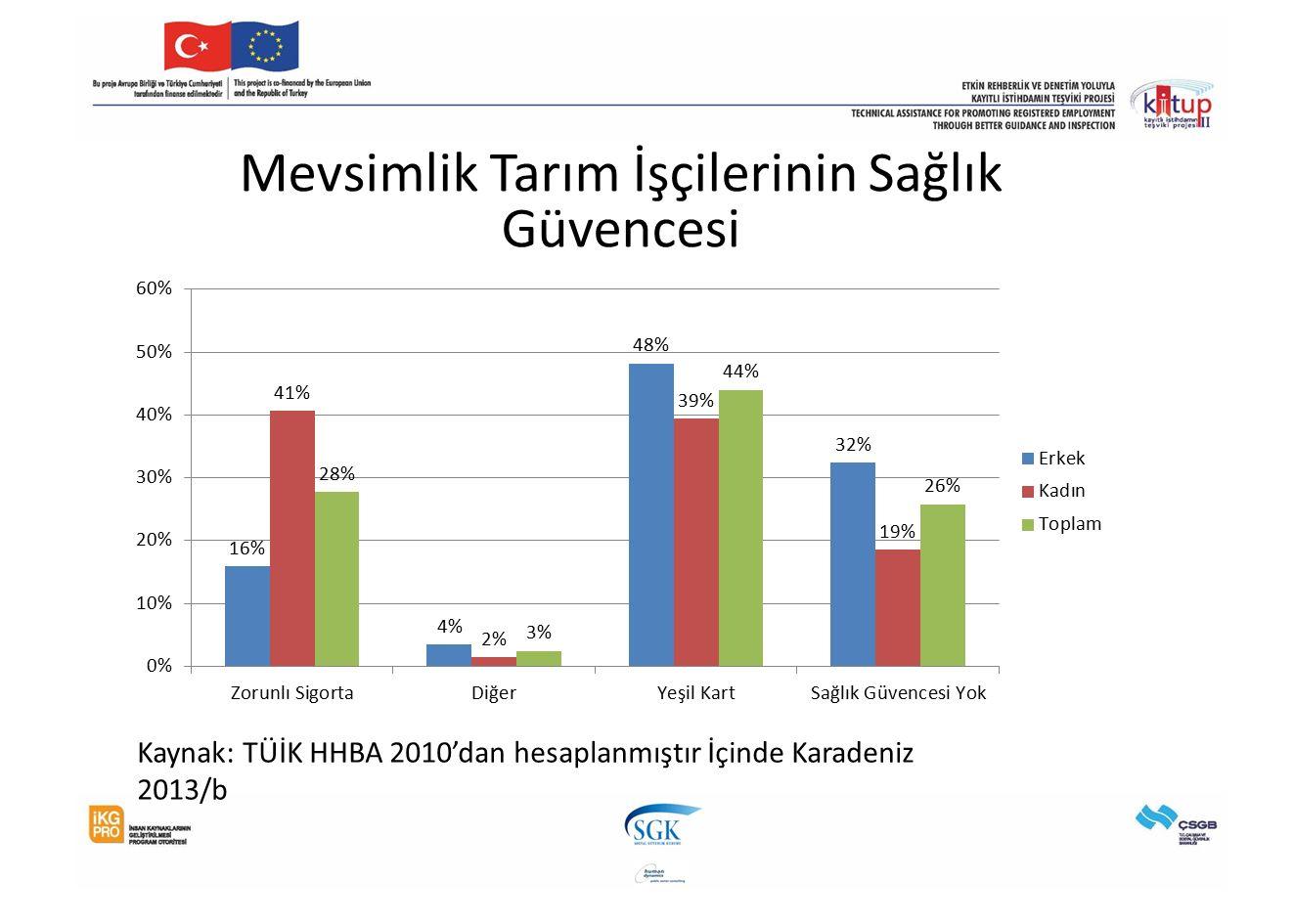 Mevsimlik Tarım İşçilerinin Sağlık Güvencesi Kaynak: TÜİK HHBA 2010'dan hesaplanmıştır İçinde Karadeniz 2013/b