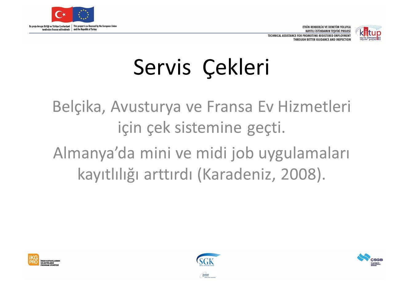 Servis Çekleri Belçika, Avusturya ve Fransa Ev Hizmetleri için çek sistemine geçti.