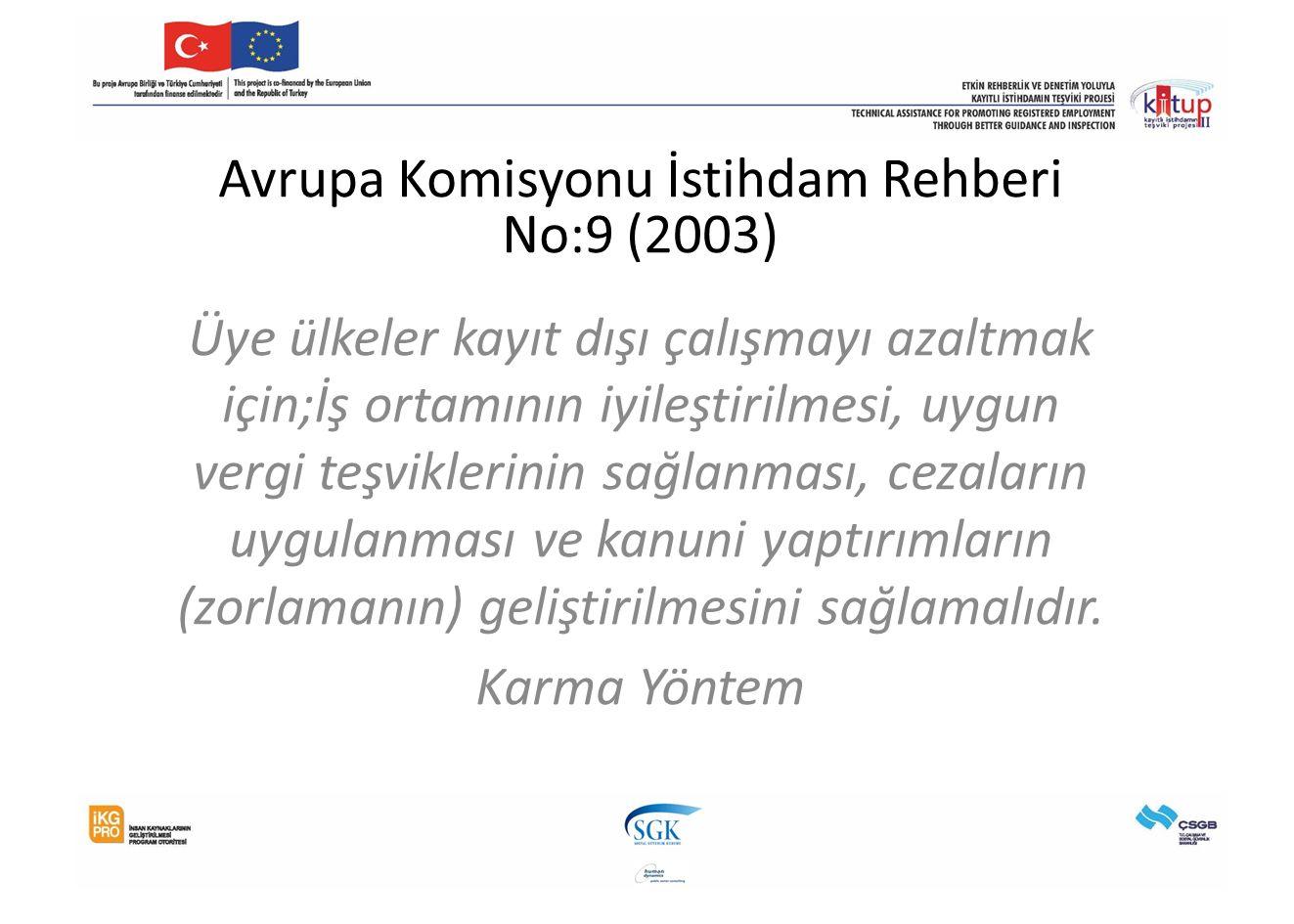 Avrupa Komisyonu İstihdam Rehberi No:9 (2003) Üye ülkeler kayıt dışı çalışmayı azaltmak için;İş ortamının iyileştirilmesi, uygun vergi teşviklerinin s