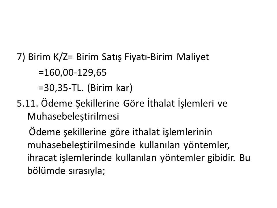 7) Birim K/Z= Birim Satış Fiyatı-Birim Maliyet =160,00-129,65 =30,35-TL.