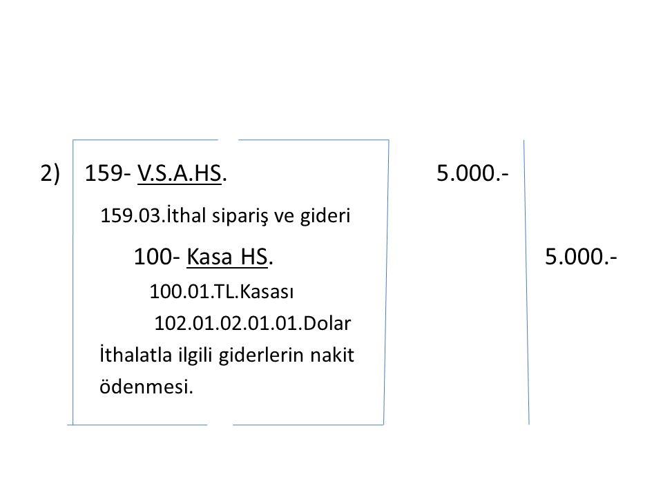 2) 159- V.S.A.HS. 5.000.- 159.03.İthal sipariş ve gideri 100- Kasa HS.