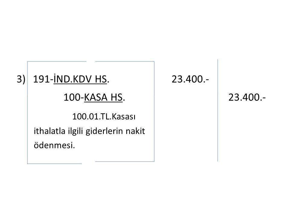 3)191-İND.KDV HS. 23.400.- 100-KASA HS.