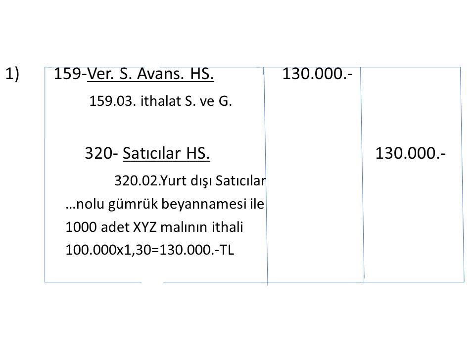 1) 159-Ver. S. Avans. HS. 130.000.- 159.03. ithalat S.