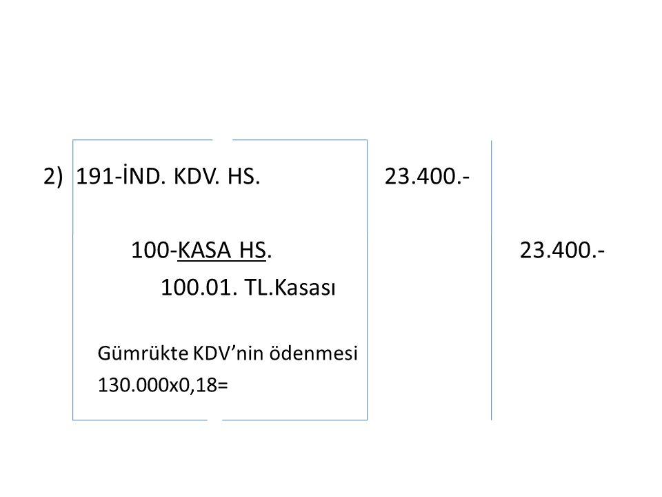 2) 191-İND. KDV. HS. 23.400.- 100-KASA HS. 23.400.- 100.01.