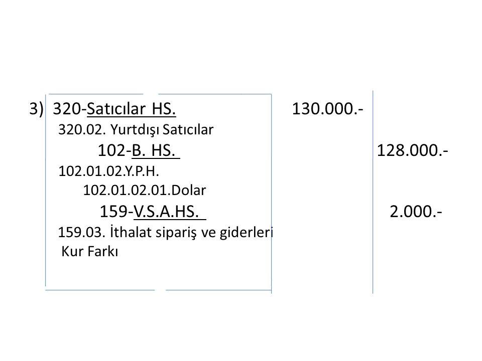 3) 320-Satıcılar HS. 130.000.- 320.02. Yurtdışı Satıcılar 102-B.