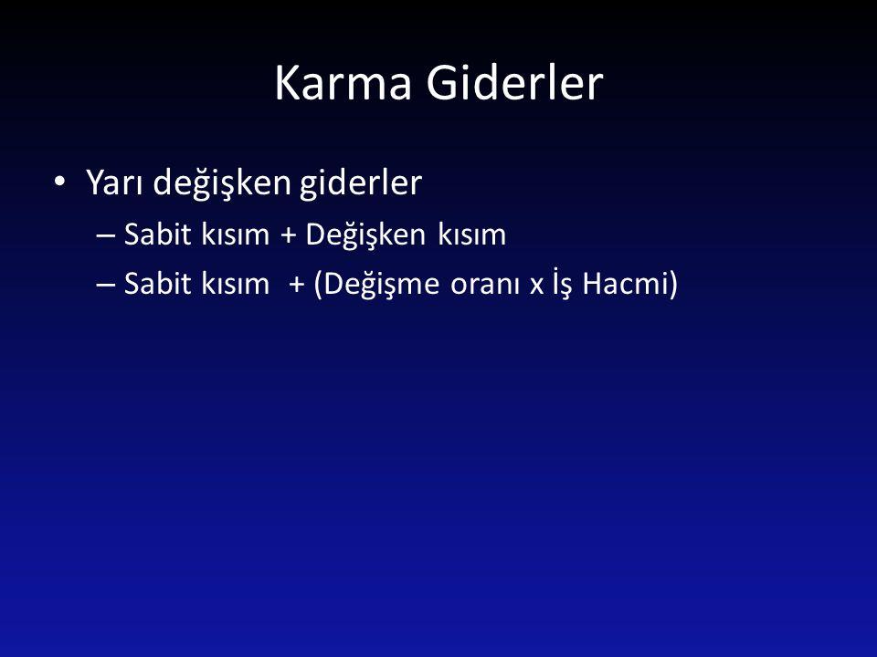 Karma Giderler Yarı değişken giderler – Sabit kısım + Değişken kısım – Sabit kısım + (Değişme oranı x İş Hacmi)