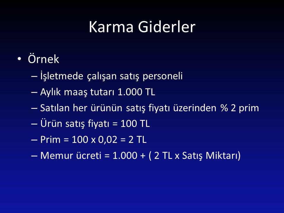 Karma Giderler Örnek – İşletmede çalışan satış personeli – Aylık maaş tutarı 1.000 TL – Satılan her ürünün satış fiyatı üzerinden % 2 prim – Ürün satı