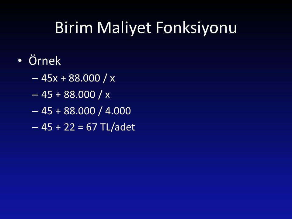 Birim Maliyet Fonksiyonu Örnek – 45x + 88.000 / x – 45 + 88.000 / x – 45 + 88.000 / 4.000 – 45 + 22 = 67 TL/adet