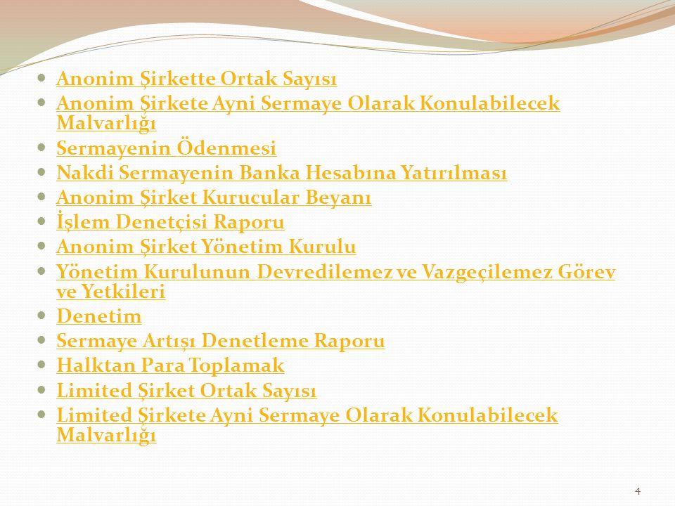 Madde 25 (Uygulama Kanunu) (1) Türk Ticaret Kanununun yürürlüğe girdiği tarihte görevde bulunan anonim şirket yönetim kurulları ile limited şirket müdürleri, görevden alınmaları veya yönetim kurulu üyeliğinin başka bir sebeple boşalması hâli hariç, sürelerinin sonuna kadar görevlerine devam ederler.