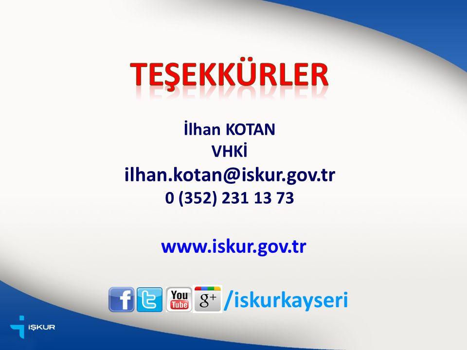 İlhan KOTAN VHKİ ilhan.kotan@iskur.gov.tr 0 (352) 231 13 73 /iskurkayseri www.iskur.gov.tr