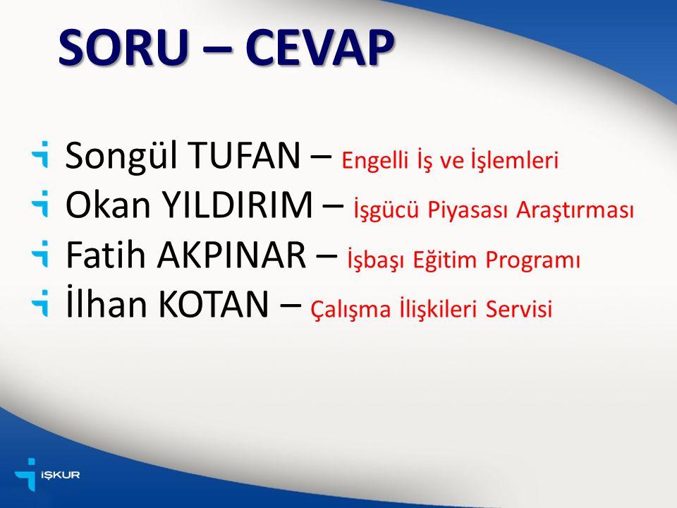 SORU – CEVAP Songül TUFAN – Engelli İş ve İşlemleri Okan YILDIRIM – İşgücü Piyasası Araştırması Fatih AKPINAR – İşbaşı Eğitim Programı İlhan KOTAN – Çalışma İlişkileri Servisi