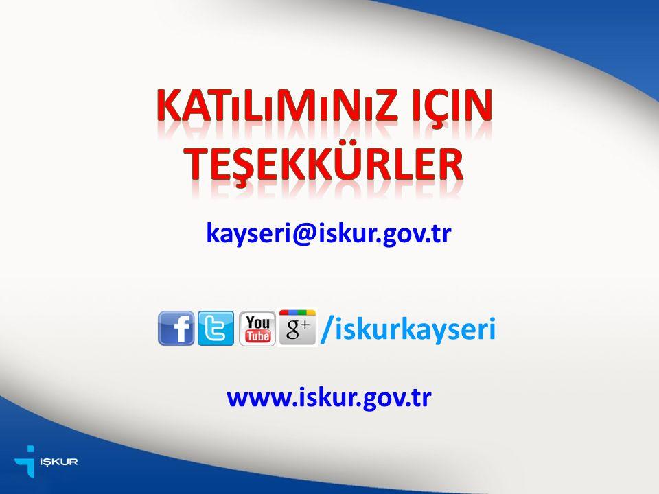 /iskurkayseri www.iskur.gov.tr kayseri@iskur.gov.tr