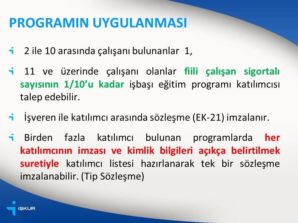 PROGRAMIN UYGULANMASI 2 ile 10 arasında çalışanı bulunanlar 1, 11 ve üzerinde çalışanı olanlar fiili çalışan sigortalı sayısının 1/10'u kadar işbaşı eğitim programı katılımcısı talep edebilir.
