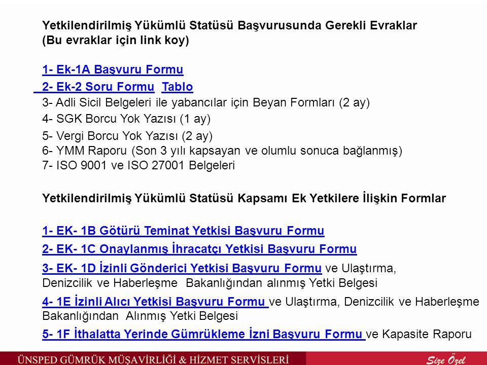 Yetkilendirilmiş Yükümlü Statüsü Başvurusunda Gerekli Evraklar (Bu evraklar için link koy) 1- Ek-1A Başvuru Formu 1- Ek-1A Başvuru Formu 2- Ek-2 Soru Formu2- Ek-2 Soru Formu TabloTablo 3- Adli Sicil Belgeleri ile yabancılar için Beyan Formları (2 ay) 4- SGK Borcu Yok Yazısı (1 ay) 5- Vergi Borcu Yok Yazısı (2 ay) 6- YMM Raporu (Son 3 yılı kapsayan ve olumlu sonuca bağlanmış) 7- ISO 9001 ve ISO 27001 Belgeleri Yetkilendirilmiş Yükümlü Statüsü Kapsamı Ek Yetkilere İlişkin Formlar 1- EK- 1B Götürü Teminat Yetkisi Başvuru Formu 2- EK- 1C Onaylanmış İhracatçı Yetkisi Başvuru Formu 3- EK- 1D İzinli Gönderici Yetkisi Başvuru Formu3- EK- 1D İzinli Gönderici Yetkisi Başvuru Formu ve Ulaştırma, Denizcilik ve Haberleşme Bakanlığından alınmış Yetki Belgesi 4- 1E İzinli Alıcı Yetkisi Başvuru Formu 4- 1E İzinli Alıcı Yetkisi Başvuru Formu ve Ulaştırma, Denizcilik ve Haberleşme Bakanlığından Alınmış Yetki Belgesi 5- 1F İthalatta Yerinde Gümrükleme İzni Başvuru Formu 5- 1F İthalatta Yerinde Gümrükleme İzni Başvuru Formu ve Kapasite Raporu
