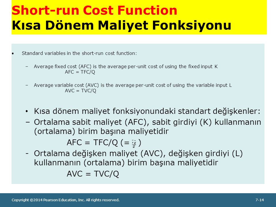 Copyright ©2014 Pearson Education, Inc. All rights reserved.7-14 Short-run Cost Function Kısa Dönem Maliyet Fonksiyonu Standard variables in the short