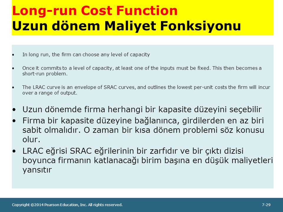 Copyright ©2014 Pearson Education, Inc. All rights reserved.7-29 Long-run Cost Function Uzun dönem Maliyet Fonksiyonu In long run, the firm can choose