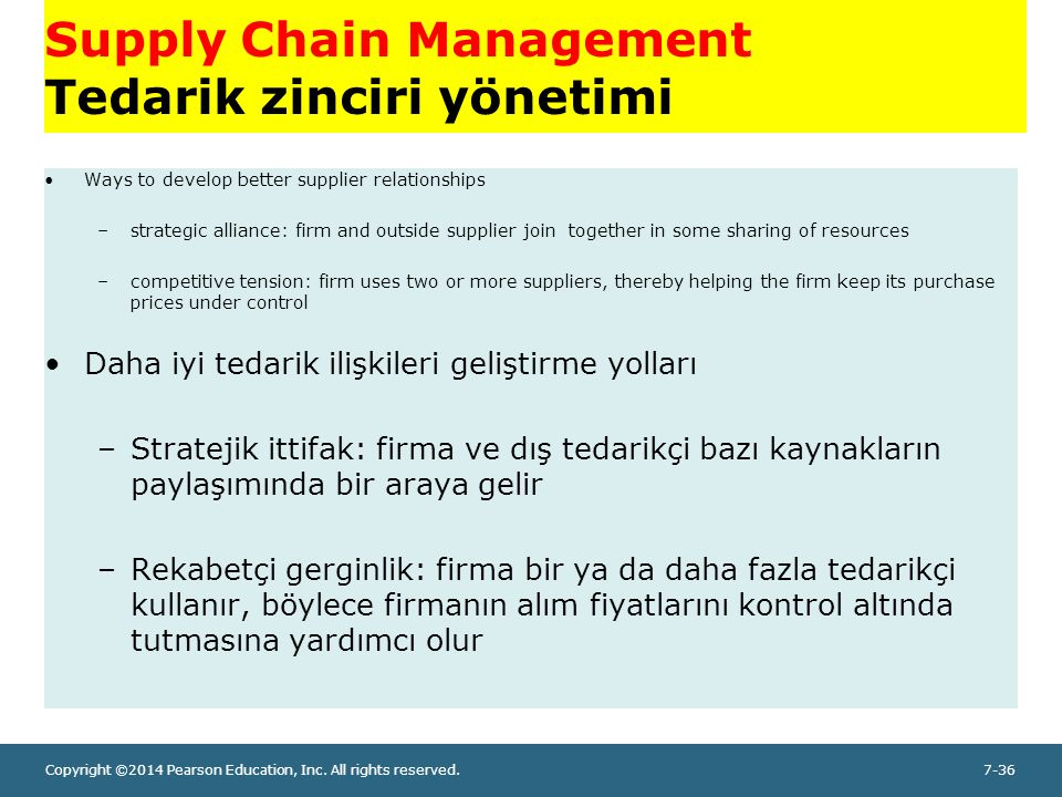 Copyright ©2014 Pearson Education, Inc. All rights reserved.7-36 Supply Chain Management Tedarik zinciri yönetimi Ways to develop better supplier rela