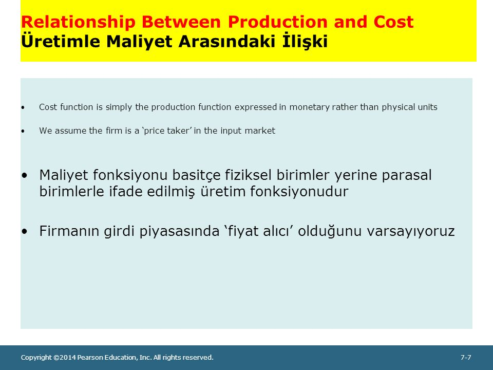 Copyright ©2014 Pearson Education, Inc. All rights reserved.7-7 Relationship Between Production and Cost Üretimle Maliyet Arasındaki İlişki Cost funct