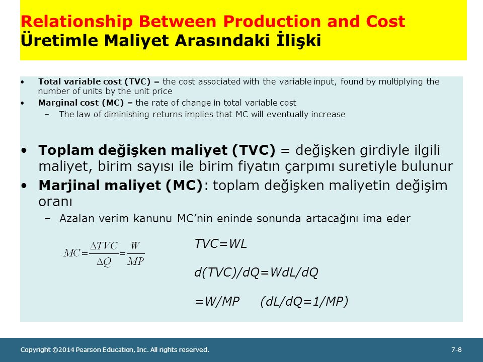 Copyright ©2014 Pearson Education, Inc. All rights reserved.7-8 Relationship Between Production and Cost Üretimle Maliyet Arasındaki İlişki Total vari
