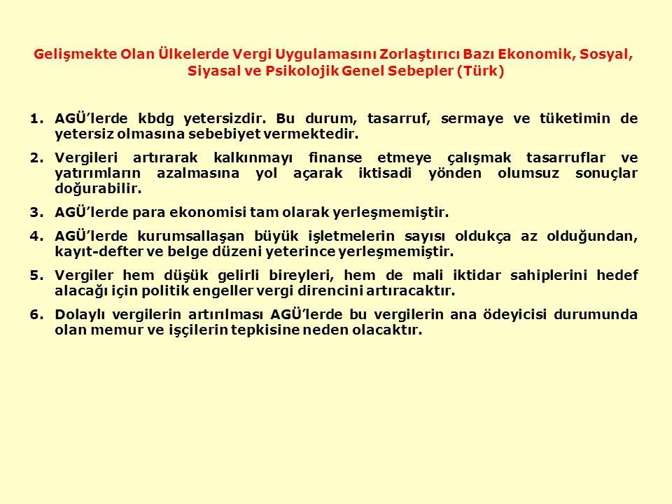 Gelişmekte Olan Ülkelerde Vergi Uygulamasını Zorlaştırıcı Bazı Ekonomik, Sosyal, Siyasal ve Psikolojik Genel Sebepler (Türk) 1.AGÜ'lerde kbdg yetersizdir.