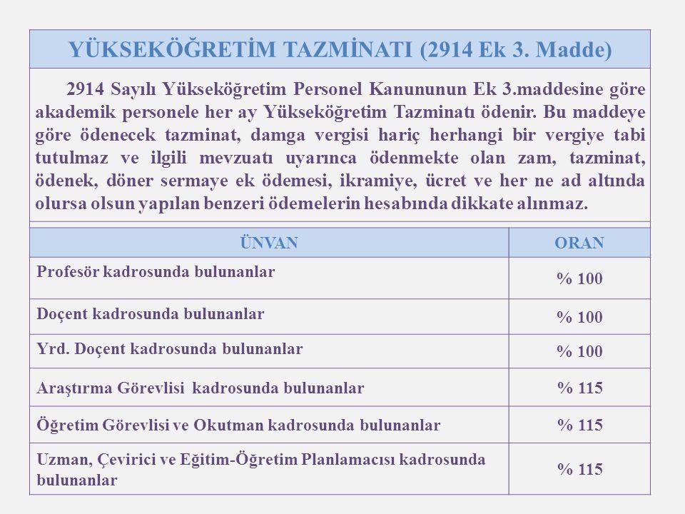14 YÜKSEKÖĞRETİM TAZMİNATI (2914 Ek 3.
