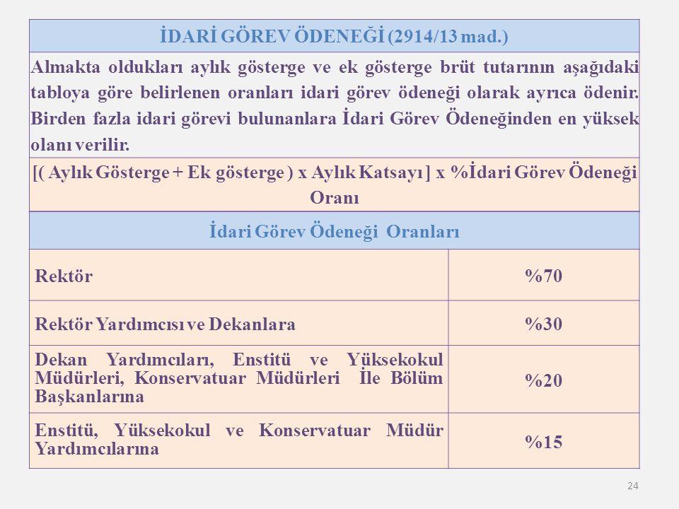24 İDARİ GÖREV ÖDENEĞİ (2914/13 mad.) Almakta oldukları aylık gösterge ve ek gösterge brüt tutarının aşağıdaki tabloya göre belirlenen oranları idari görev ödeneği olarak ayrıca ödenir.