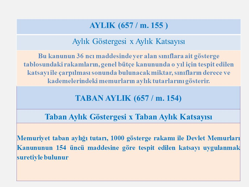 6 TABAN AYLIK (657 / m.