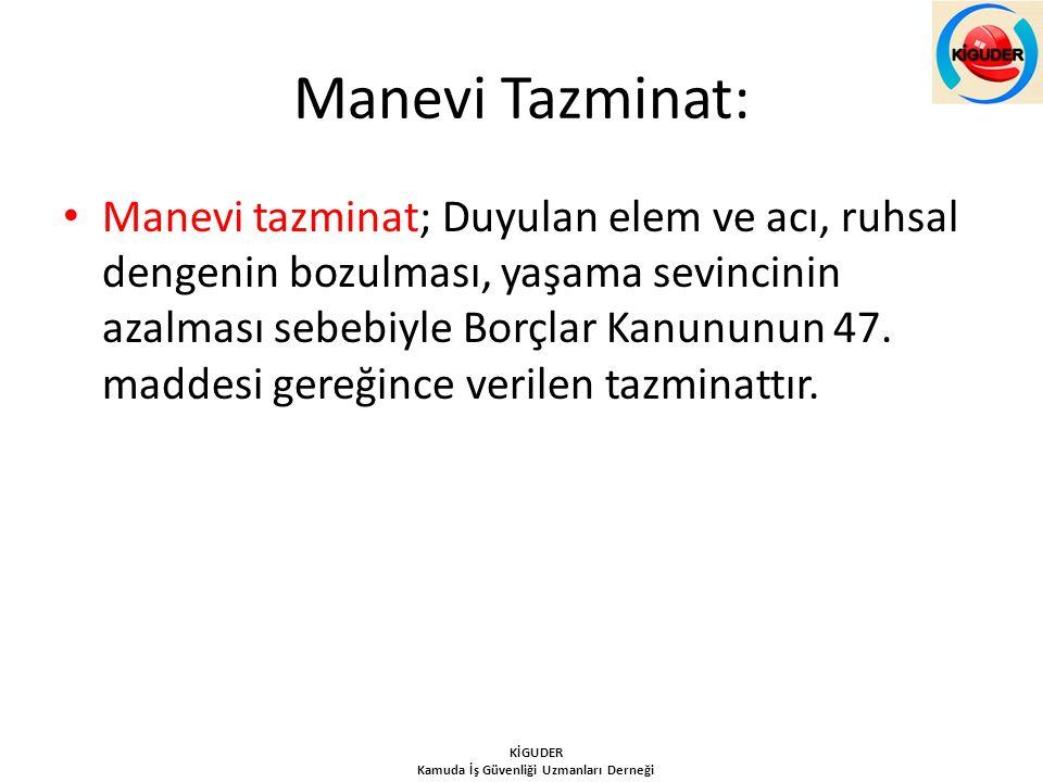 Manevi Tazminat: Manevi tazminat; Duyulan elem ve acı, ruhsal dengenin bozulması, yaşama sevincinin azalması sebebiyle Borçlar Kanununun 47. maddesi g