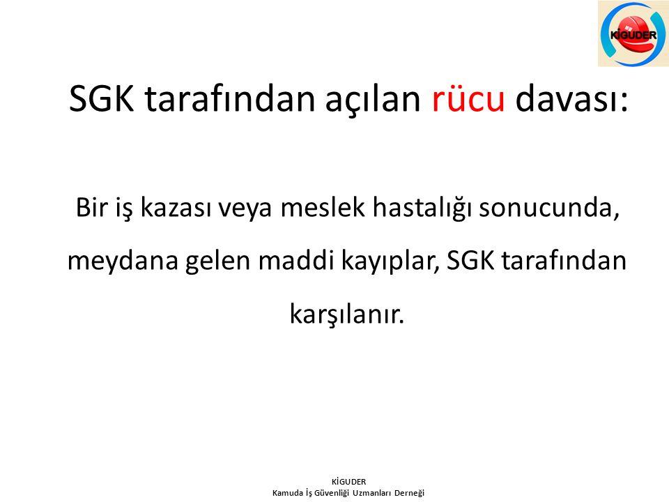 SGK tarafından açılan rücu davası: Bir iş kazası veya meslek hastalığı sonucunda, meydana gelen maddi kayıplar, SGK tarafından karşılanır. KİGUDER Kam