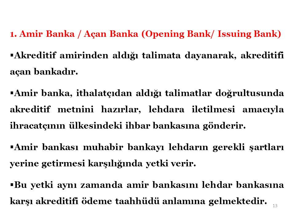 1. Amir Banka / Açan Banka (Opening Bank/ Issuing Bank)  Akreditif amirinden aldığı talimata dayanarak, akreditifi açan bankadır.  Amir banka, ithal