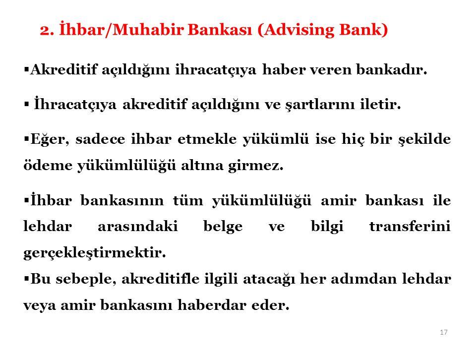  Akreditif açıldığını ihracatçıya haber veren bankadır.