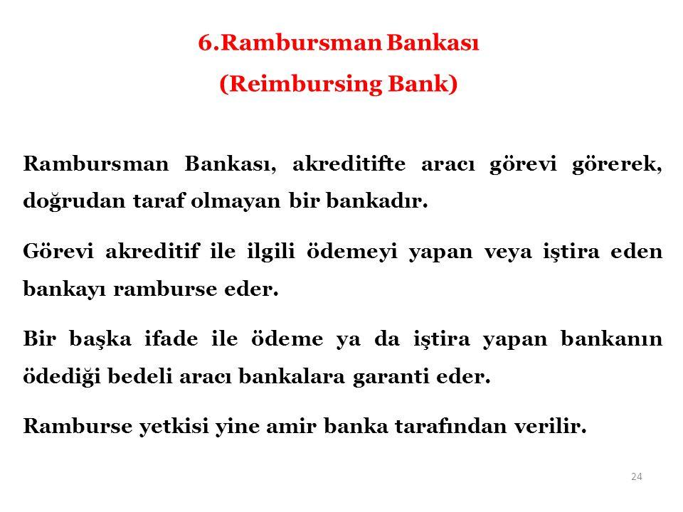 Rambursman Bankası, akreditifte aracı görevi görerek, doğrudan taraf olmayan bir bankadır.