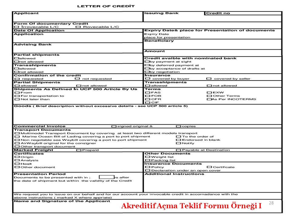 Akreditif Açma Teklif Formu Örneği I 28