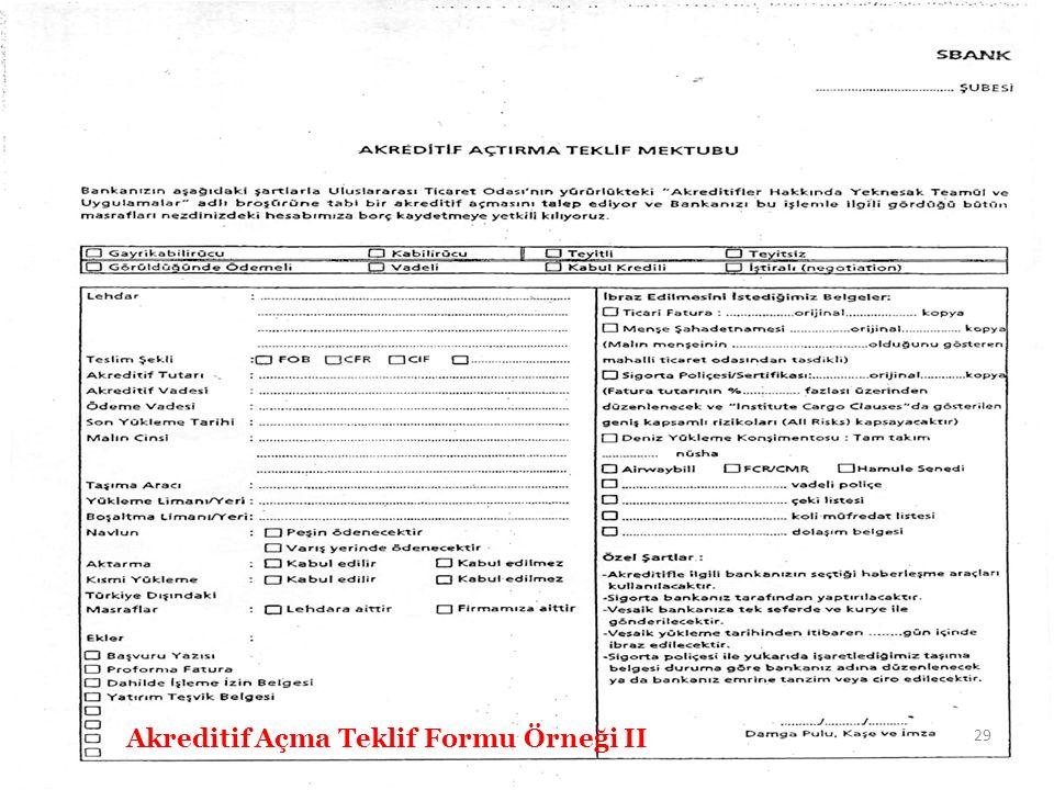 Akreditif Açma Teklif Formu Örneği II 29