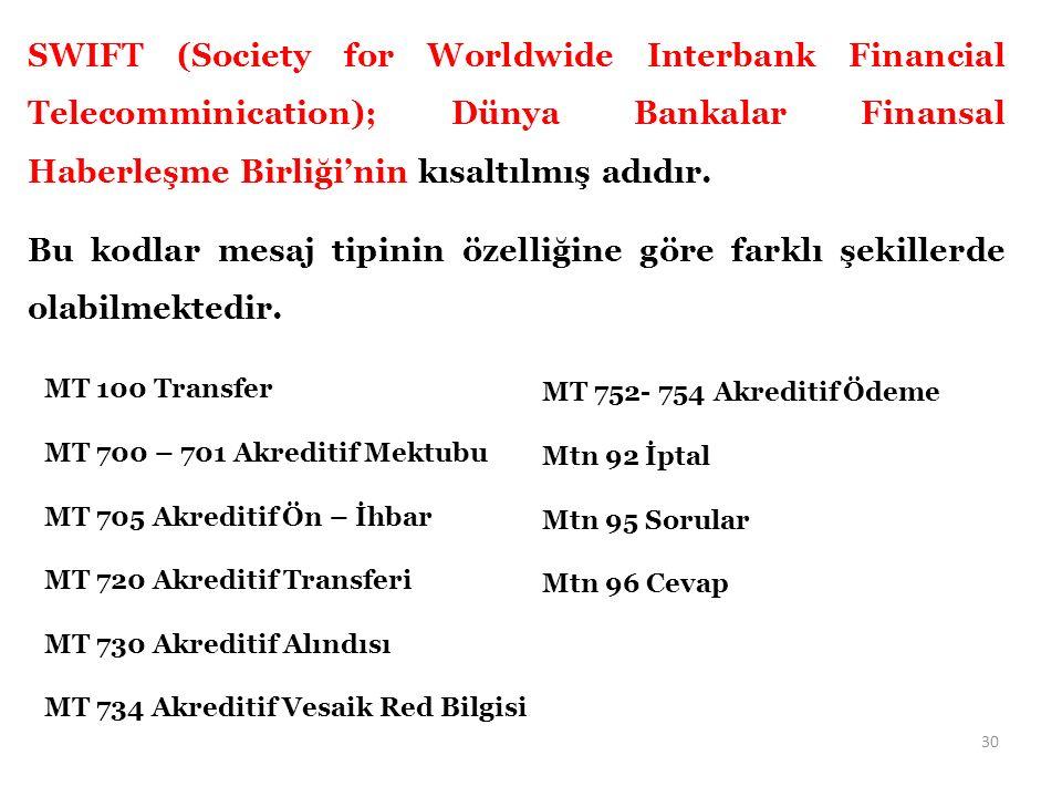 SWIFT (Society for Worldwide Interbank Financial Telecomminication); Dünya Bankalar Finansal Haberleşme Birliği'nin kısaltılmış adıdır.