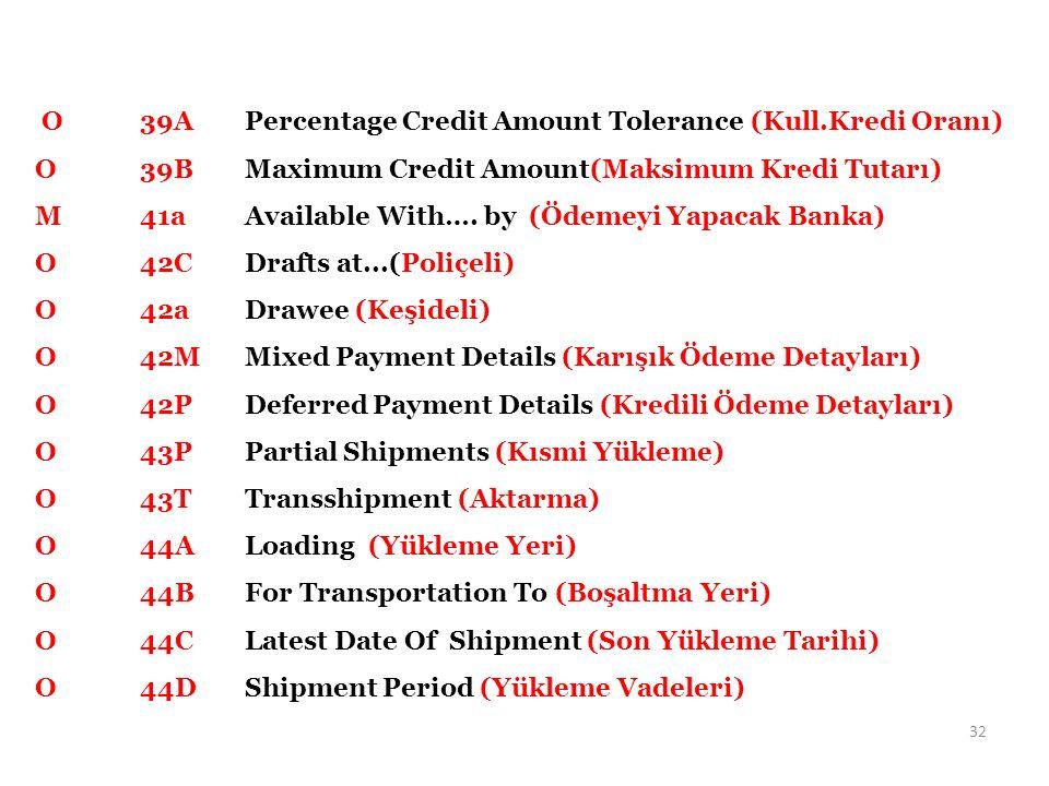 O 39APercentage Credit Amount Tolerance (Kull.Kredi Oranı) O 39BMaximum Credit Amount(Maksimum Kredi Tutarı) M41aAvailable With…. by (Ödemeyi Yapacak