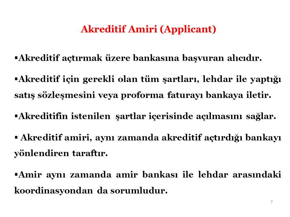  Akreditif açtırmak üzere bankasına başvuran alıcıdır.