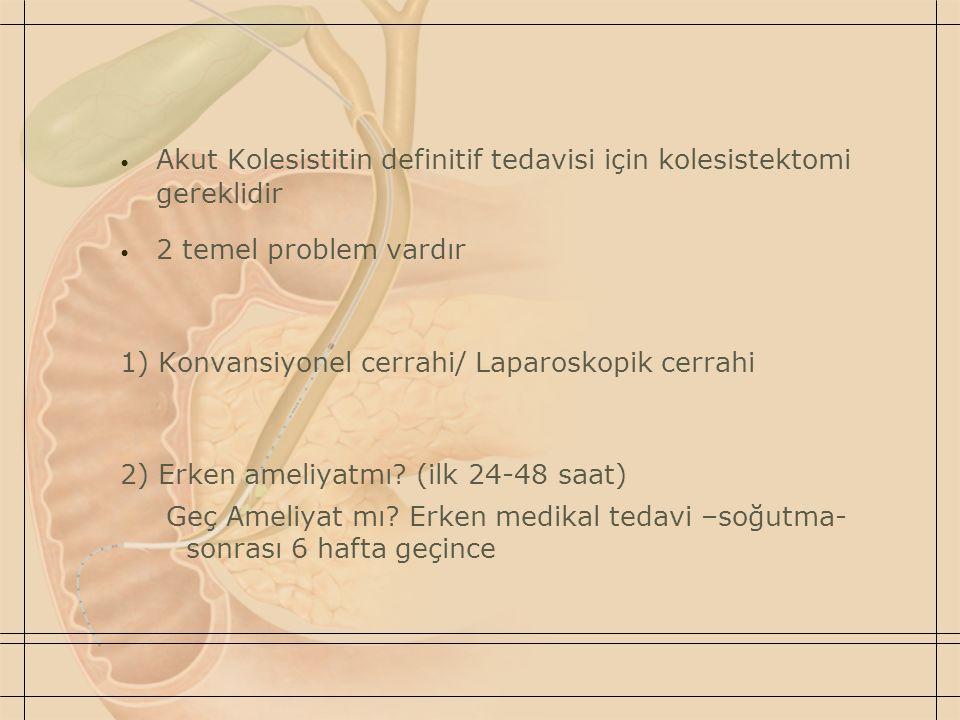 Akut Kolesistitin definitif tedavisi için kolesistektomi gereklidir 2 temel problem vardır 1) Konvansiyonel cerrahi/ Laparoskopik cerrahi 2) Erken ameliyatmı.