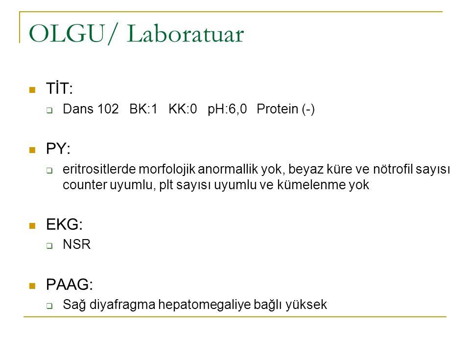 OLGU/ Laboratuar TİT:  Dans 102 BK:1 KK:0 pH:6,0 Protein (-) PY:  eritrositlerde morfolojik anormallik yok, beyaz küre ve nötrofil sayısı counter uy