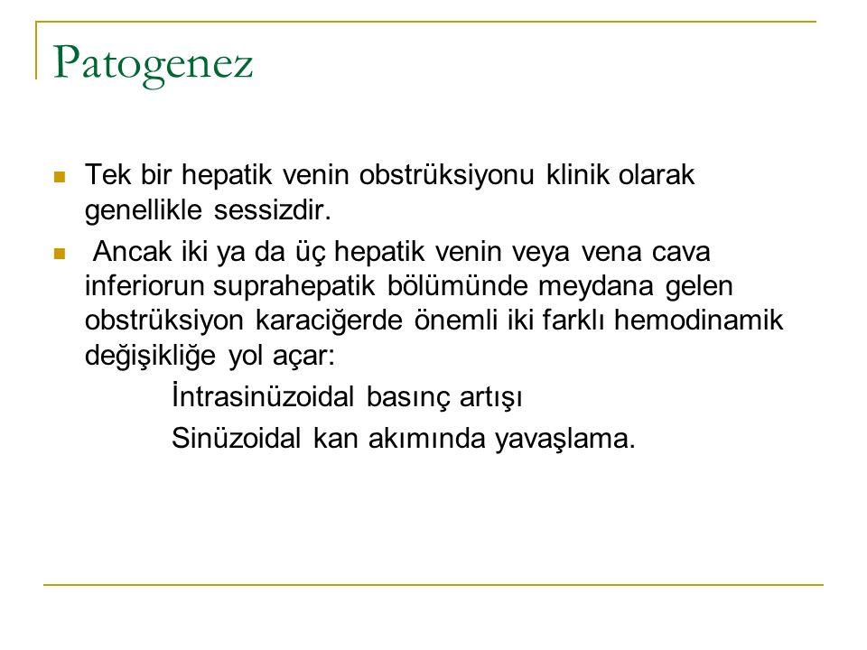Patogenez Tek bir hepatik venin obstrüksiyonu klinik olarak genellikle sessizdir. Ancak iki ya da üç hepatik venin veya vena cava inferiorun suprahepa
