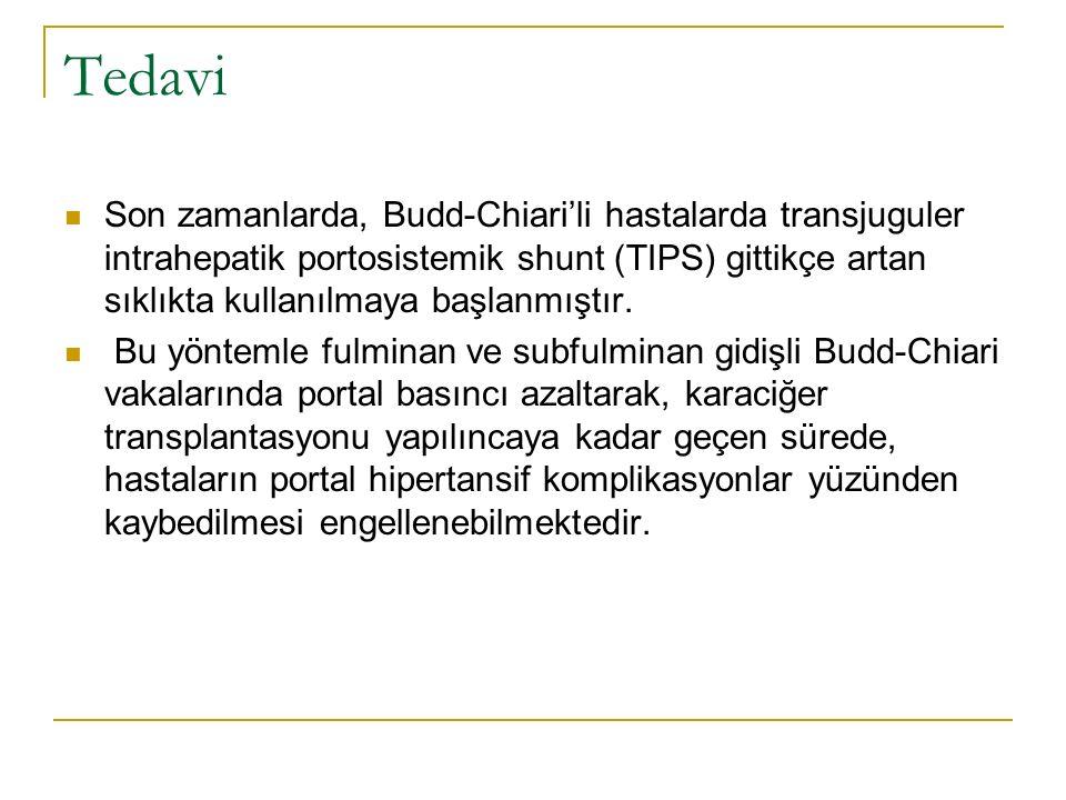 Tedavi Son zamanlarda, Budd-Chiari'li hastalarda transjuguler intrahepatik portosistemik shunt (TIPS) gittikçe artan sıklıkta kullanılmaya başlanmıştı