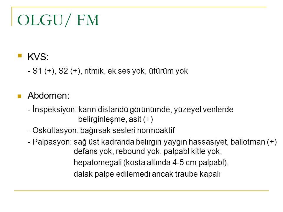 OLGU/ FM  KVS: - S1 (+), S2 (+), ritmik, ek ses yok, üfürüm yok Abdomen: - İnspeksiyon: karın distandü görünümde, yüzeyel venlerde belirginleşme, asi