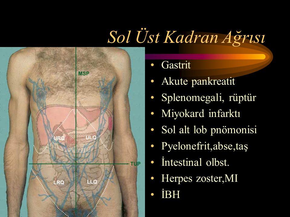 Sol Üst Kadran Ağrısı Gastrit Akute pankreatit Splenomegali, rüptür Miyokard infarktı Sol alt lob pnömonisi Pyelonefrit,abse,taş İntestinal olbst.