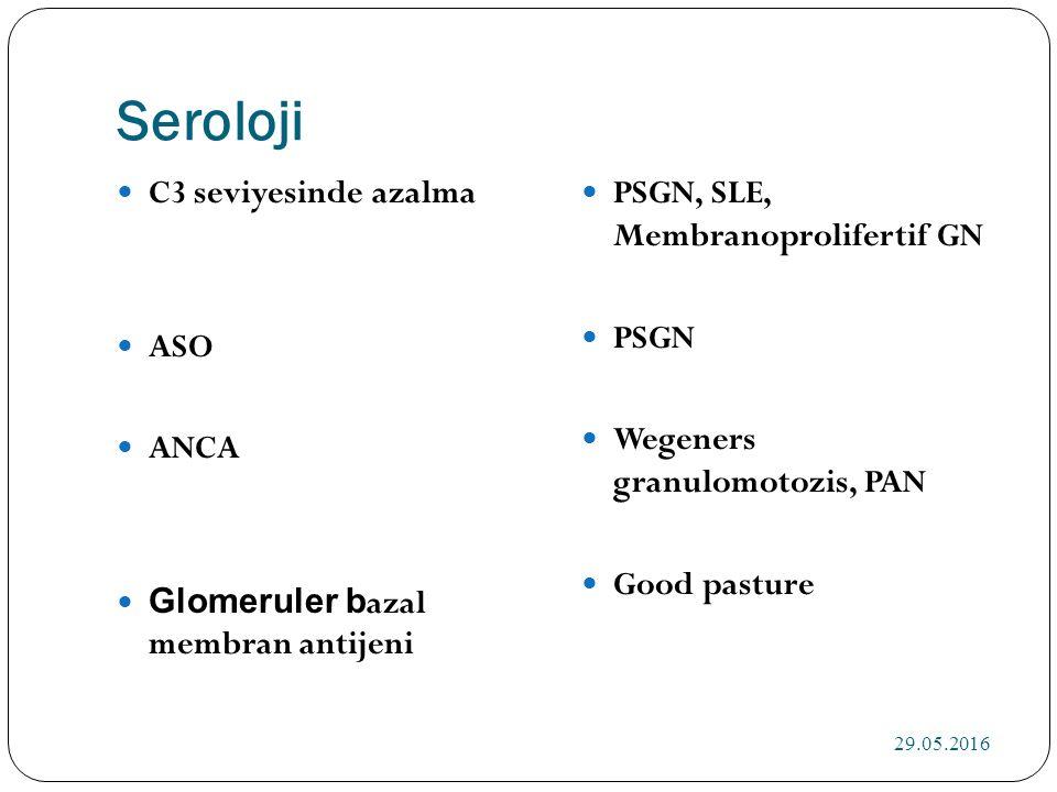 Seroloji C3 seviyesinde azalma ASO ANCA Glomeruler b azal membran antijeni PSGN, SLE, Membranoprolifertif GN PSGN Wegeners granulomotozis, PAN Good pasture 29.05.2016