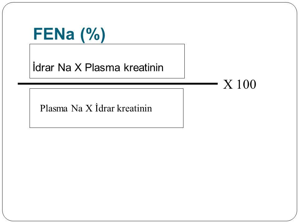 FENa (%) İdrar Na X Plasma kreatinin Plasma Na X İdrar kreatinin X 100