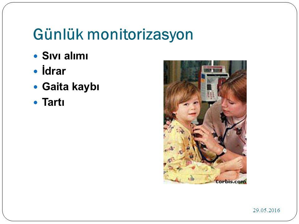 Günlük monitorizasyon Sıvı alımı İdrar Gaita kaybı Tartı 29.05.2016