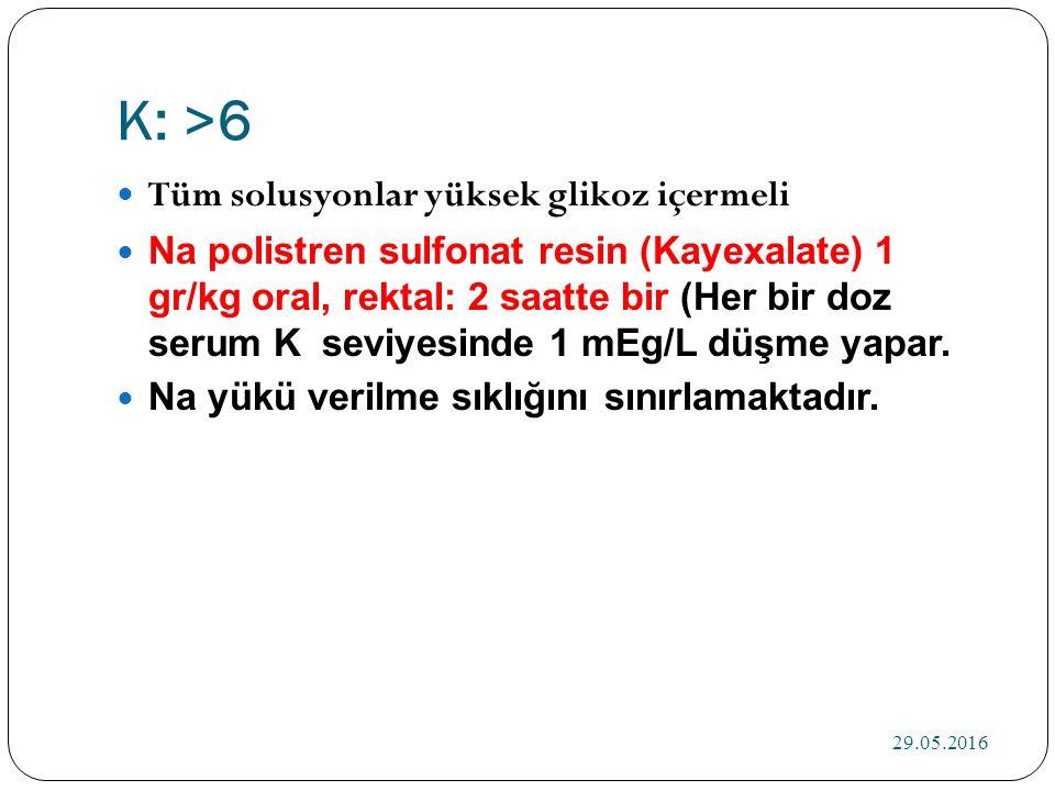 K: >6 Tüm solusyonlar yüksek glikoz içermeli Na polistren sulfonat resin (Kayexalate) 1 gr/kg oral, rektal: 2 saatte bir (Her bir doz serum K seviyesinde 1 mEg/L düşme yapar.