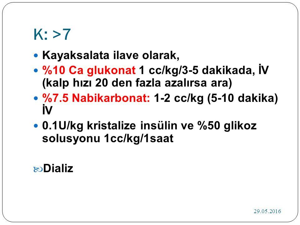 K: >7 Kayaksalata ilave olarak, %10 Ca glukonat 1 cc/kg/3-5 dakikada, İV (kalp hızı 20 den fazla azalırsa ara) %7.5 Nabikarbonat: 1-2 cc/kg (5-10 dakika) İV 0.1U/kg kristalize insülin ve %50 glikoz solusyonu 1cc/kg/1saat Dializ 29.05.2016